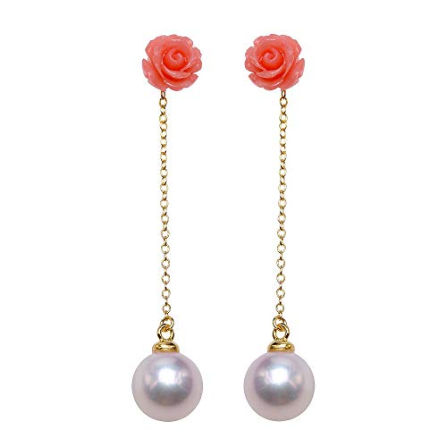 JYX Pearl Sterling Silver Drop Earrings with Red Coral Rose AAA Quality 8mm Round White Freshwater Pearl Stud Earrings for Women