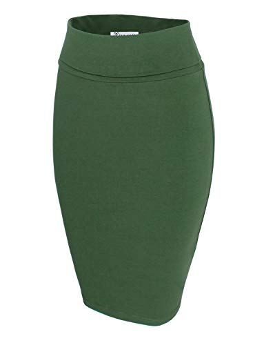 TAM WARE Womens Casual Convertible Knee Length Pencil Skirt TWCWS02-KHAKI-US L