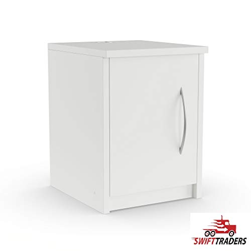 Simple Lines and Contemporary Styling Edna Single-Door Nightstand in Antique White with Security Seal Strip Included