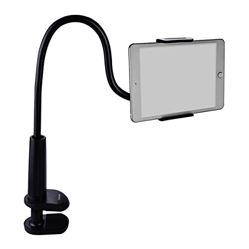 Tryone Gooseneck Nintendo Switch Mount Holder/ iPad Stand/ Cellphone Stand/ Tablet Mount Holder, Bolt Clamp with Spring Grip for Apple or Android Devices, 30 Inches Overall Length(Black)