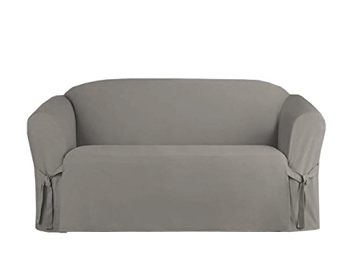 UPC 642709027553, Linen Store Microsuede Slipcover Furniture Protector Cover, Grey, Loveseat