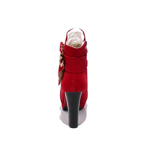 Boots Womens nbsp;Lining Platform Velvet AdeeSu Heels Microsuede nbsp; SXC02618 Red Chunky pXwdaqU8