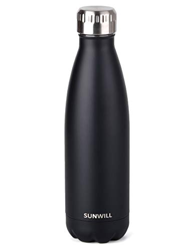 (SUNWILL Insulated Stainless Steel Water Bottle Black, Vacuum Double Wall Sports Water Bottle 17oz, Cola Shape Travel Thermal Flask)