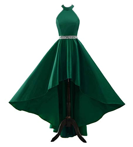 (Changuan Halter High Low Evening Party Dress Satin Homecoming Prom Dresses Sleeveless Green-16 )