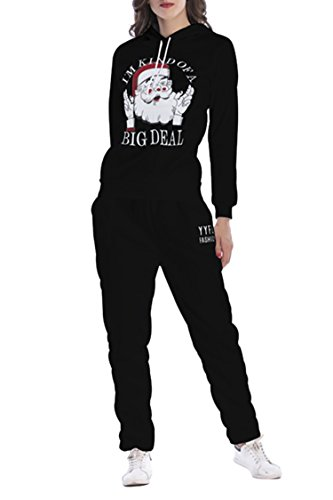 Selowin Women's Black Santa Printed Sweatshirt Athletic Pullover Hooded 2 Piece Tracksuits - Day 2 Delivery