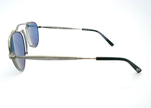 f91394dfb7a Amazon.com  Matsuda M3036 antigue silver Small Aviator Sunglasses with Blue  Lenses  Clothing