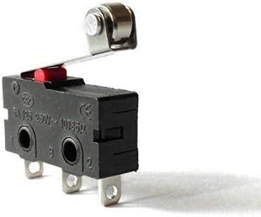 InduSKY Lot de 10 Micro Interrupteur de Fin de Course Interrupteur Levier de Rouleau AC 250V 5A SPDT 1NO 1NC Mini Momentan/ée Action Instantan/ée Commutateurs