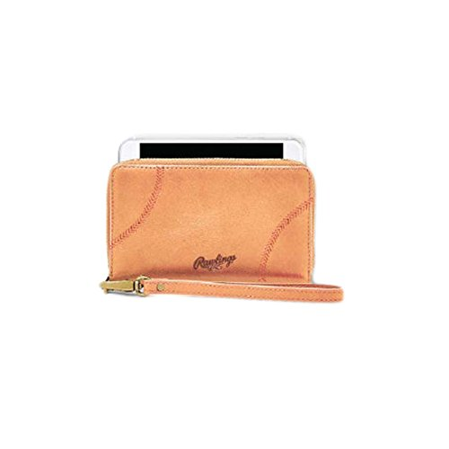 Rawlings Women's Baseball Stitch Phone Zip Wallet, Tan, - Wallet Accessories Sports Rawlings