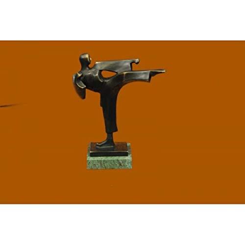 Gorgeous 100% Real Bronze Statue Karate Man Trophy Sculpture Green Marble Base Figurine