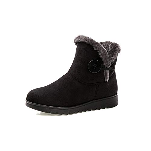 Women's Winter Warm Snow Boots Waterproof Non-Slip Female Short Boot Plush Round Toe Flat Shoes Black