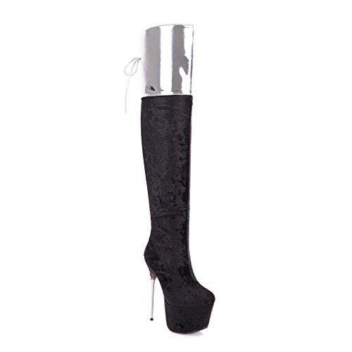 Schuhe Schwarz Kaloosh High Heel Overknee Lace Stiefel Damenmode Wildleder Zip up CqzCnpTw