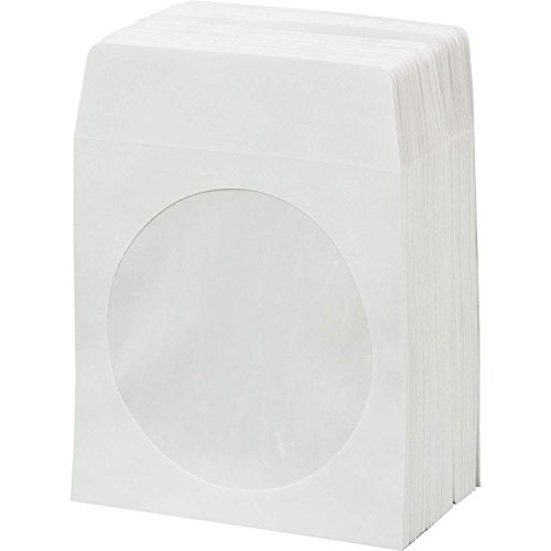 BestDuplicator CDSLV-100-WH, 100 Paper CD sleeves with Window and Rear Flap