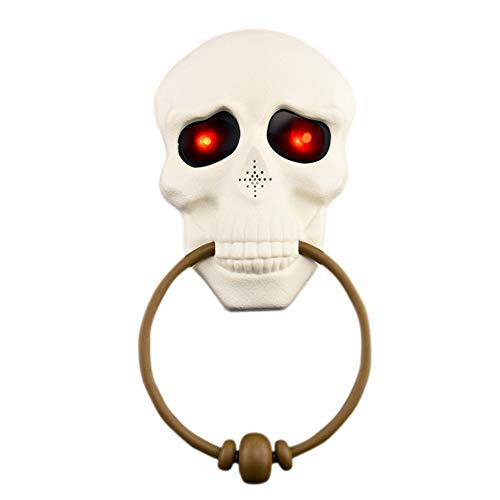 Halloween Doorbell Skull Ghostly with Lights up Eyeball and Talking Scary Sounds Surprise Tricky Toys Haunted House Party Glow Horror Doorbell Props Door Decor(White) -