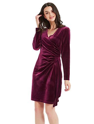 Basic Model Women's Velvet Long Sleeve Wrap Dress - Bodycon Tulip Hem V-Neck High Waist Gown Wine Red