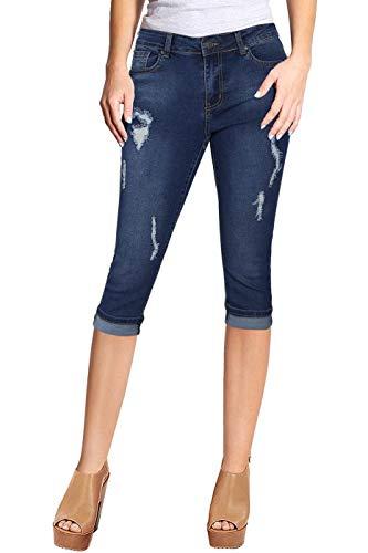 2LUV Women's Stretchy 5 Pocket Skinny Capri Jeans Medium Blue 3