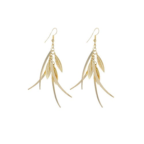 IDB Delicate Filigree Dangle Triple Feather Drop Hook Earrings - Available in Silver and Gold Tones (Gold Tone)