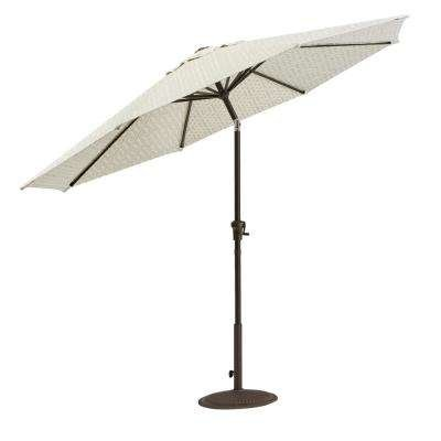 HDC Inc. Home Decorators Collection Camden 9 ft. Aluminum Crank Patio Umbrella in Fretwork Flax