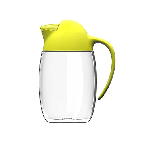 Drizom Non-Drip Glass Oil & Vinegar Container And Dispenser Bottle With Automatic Cap & U-shaped Nozzle, Leakproof, Automatic Stopper, Precise-Pour Spout, And Non-Slip Handle,21oz (YELLOW)