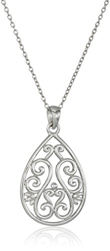 Sterling Silver Filigree Teardrop Pendant Necklace, 18""