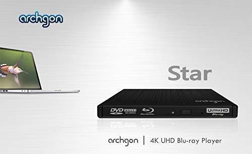 Aluminium argent/é Lecteur de disques /à Chargement par bac Archgon Star BD Externe Graveur//Lecteur Blu-Ray BDXL pour PC USB 3.0
