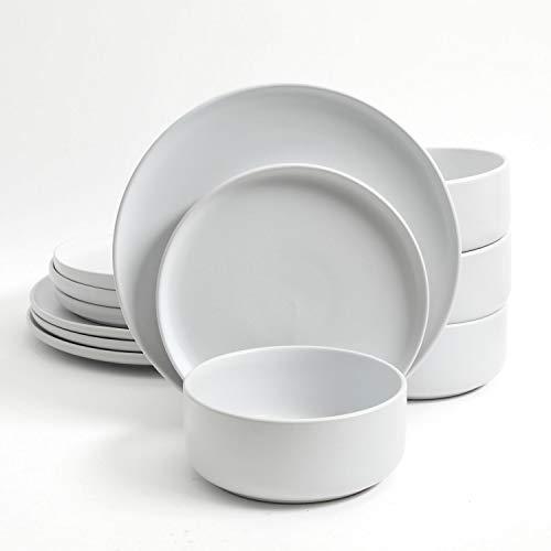 Gibson Home Stone Lava 12 Piece Dinnerware Set, White