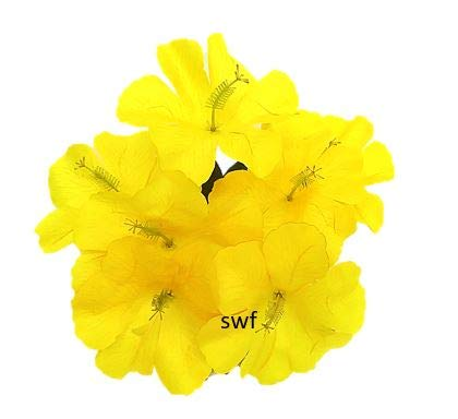 "12"" Hibiscus Bush Artificial Silk Wedding Crafts Bouquet Flowers 7 Stems (Yellow)"