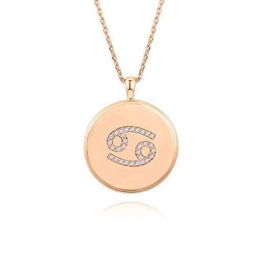 Zodiac Sign Cancer Horoscope (PAVOI 14K Rose Gold Plated Astrology Constellation Horoscope Zodiac Disc Necklace 16-18