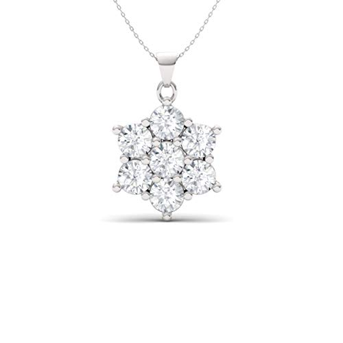 Diamondere Natural and Certified Diamond Flower Seven Stone Necklace in 14k White Gold | 0.31 Carat I2-I3 Quality Pendant with Chain