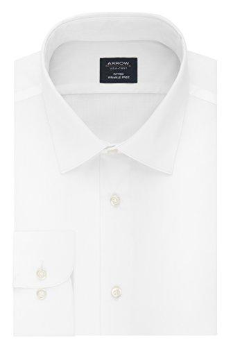 Arrow Men's Dress Shirt Poplin Fitted Spread Collar, White, 17-17.5