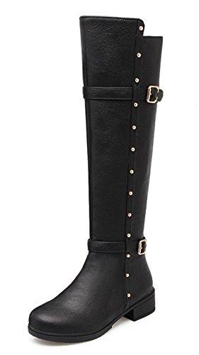 Aisun Women's Stylish Cool Studded Round Toe Buckle Strap Side Zipper Dress Low Heels Knee High Tall Boots Shoes Black 10.5 B(M) US ()