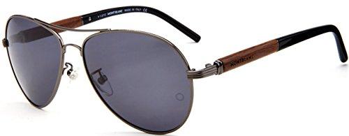 MontBlanc MB409S 09P Men's Classic Aviator Full-Rim Polarized Sunglasses, Gunmetal Frame / Brown Shaded Lens - Cucci Glasses
