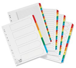 tra-wide 230 micron Card with Coloured Mylar Tabs A-Z A4 White (Mylar Tabs)