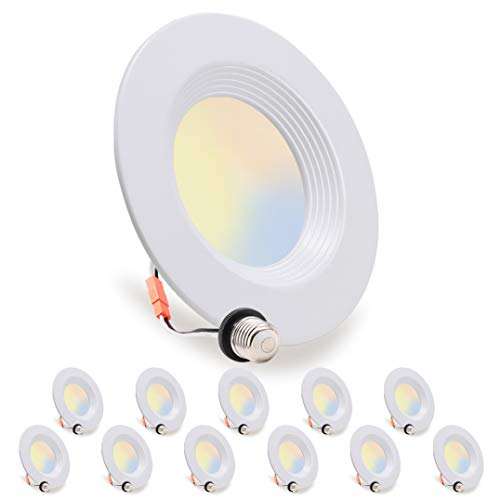 12 Pack, LED Recessed Lighting 5/6 inch Downlight, 10.5W=85W, Dimmable, Damp Rated, 5 Color Changing(Warm to Daylight…
