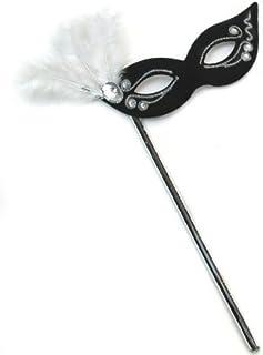 Elegant Glitz Black-White w/Fluffs Women's Masquerade Mask on a Stick. by Success Creations USA