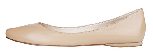 queenfoot Women's Genuine Suede Leather Pointed Toe Comfortable Ballet Flats Casual Pumps Shoes Nude Genuine Leather 12 B(M) US