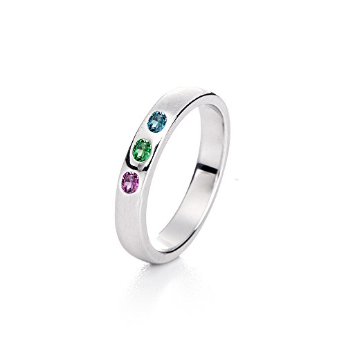 Sterling Silver 3 Simulated Stone Family Ring