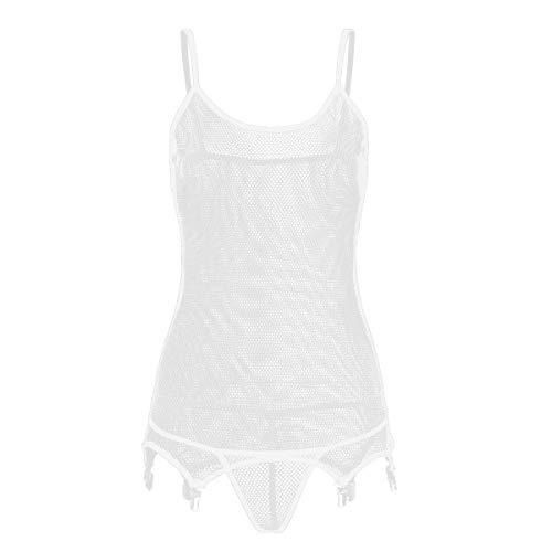 Alvivi Women's Sheer Fishnet Spaghetti Cami Bodysuit Babydoll Garter Belt with G-String Thongs White OneSize