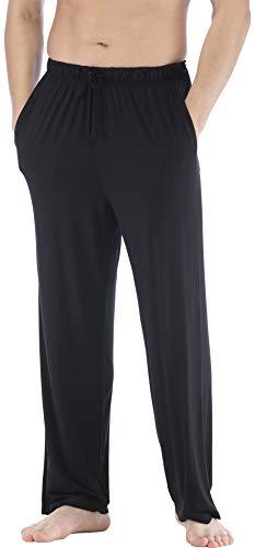 NEIWAI Mens Pajama Pants Bamboo Knit Sleep Bottoms Casual Lounge Pants Black XL