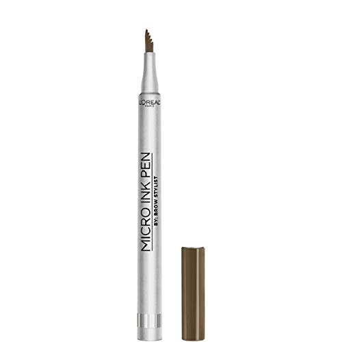 L'Oreal Paris Micro Ink Pen by Brow Stylist, Longwear Brow Tint, Hair-Like Effect, Up to 48HR Wear, Precision Comb Tip, Brunette, 0.033 fl; oz.