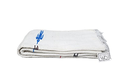 Namaste White Yoga Blanket — Thick Mexican Thunderbird blanket — Handmade and Made for Yoga!