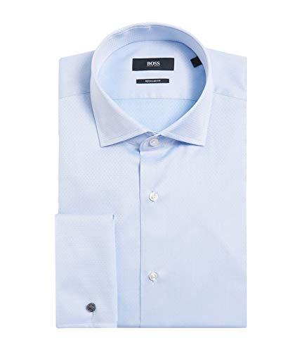 Hugo Boss Men's 'Gardner' Light Blue Regular Fit French Cuff Cotton Dress Shirt 15, 33/34
