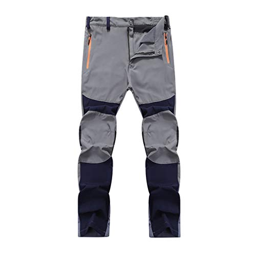 (SHMOjiany Breathable Quick Dry Waterproof Pants Summer Male Outdoor Sports Trekking Trousers Camping Hiking Pants 4XL Gray Blue Asian Size XXL)