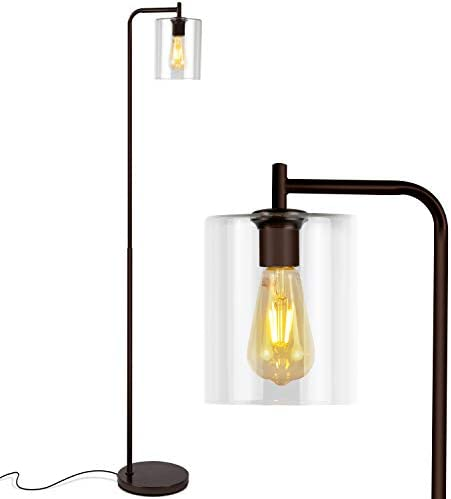 Brightech Elizabeth – Bedroom Living Room LED Floor Lamp – Standing Industrial Light with Hanging Glass Lamp Shade – Tall Pole Downlight for Office – with LED Bulb – Oil Brushed Bronze
