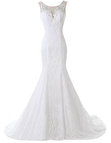 Pretygirl Women's Lace Wedding Dress V Neck Bridal Gown Long Evening Dress (US 12, Ivory)