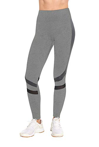 BLIS S2 Women's High Waist Workout Active Yoga Pant Leggings with Metallic Stripe and Mesh Details - Grey - L