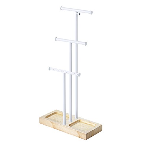 Love-KANKEI Jewelry Tree Stand White Metal & Wood Basic - Adjustable Height with Large Storage for Necklaces Bracelets Earring White and Natural Color