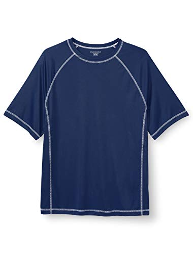 Amazon Essentials Men's Big & Tall Short-Sleeve Quick-Dry UPF 50 Swim Tee fit by DXL, Navy, 2XLT -