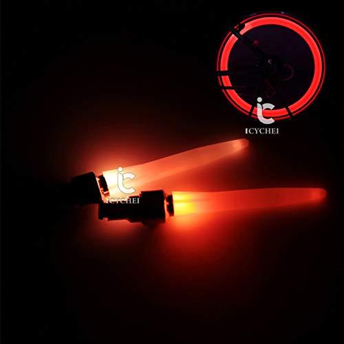 Icycheer Pneu de vélo Valve de roue Bouchon Alarme Lumière VTT Moto Flash LED Lampe de roue 2pcs étanche résistant aux chocs Vélo Spoke lumière EG