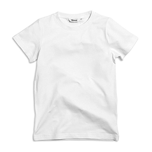 Short Sleeve Solid Plain 100% Cotton Crew Neck T-Shirts (White_4T/5) (Crew Short Sleeve Shorts)