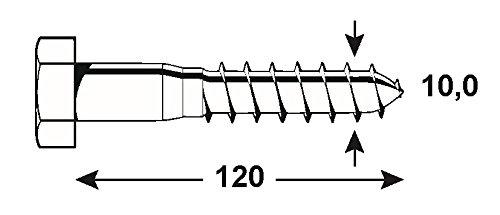 Connex KL3141120 Vis /à bois 6 pans 10 x 120 mm Multicolore galvanis/és 1000 g